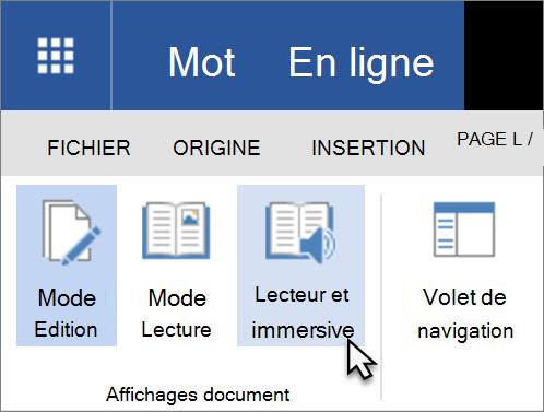 Ouvrir les outils d'apprentissage dans Word Web App en sélectionnant l'onglet Affichage