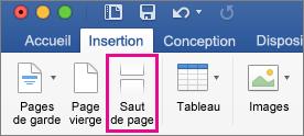Dans l'onglet Accueil, l'option Saut de page est mise en évidence