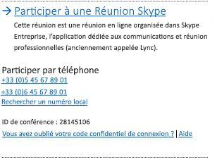 Participer à une réunion Skype - Interface utilisateur