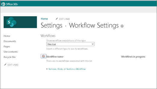 Capture d'écran de la page Paramètres du flux de travail dans SharePoint indiquant que, même lorsque les flux de travail sont activés, il n'est pas possible de créer un flux de travail 2010