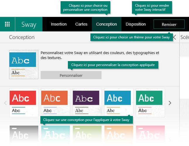 Options de conception et de disposition dans Sway