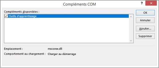Gérer: Compléments COM