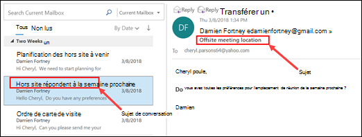 Outlook regroupe les messages par sujet de conversation dans la liste des messages.