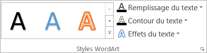 Le groupe Styles WordArt