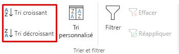Boutons Tri croissant / Tri décroissant sélectionnés