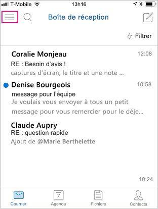 Écran d'accueil d'Outlook Mobile avec le bouton de menu en surbrillance