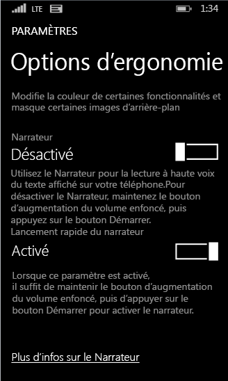 Windows Phone - Paramètres du Narrateur