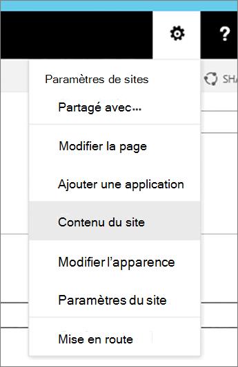 Menu paramètres avec le contenu du Site mis en surbrillance