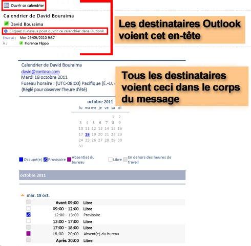 Exemple de calendrier reçu à l'aide de la fonctionnalité Envoyer le calendrier par courrier électronique