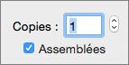 Pour définir le nombre de copies à imprimer, entrez un nombre ou utilisez les flèches.