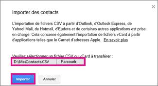 Google Gmail - boîte de dialogue d'importation de contacts