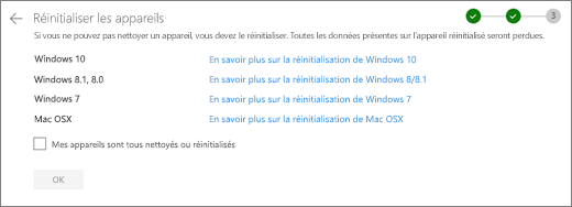 Screenshot of the Rest devices screen on the OneDrive website