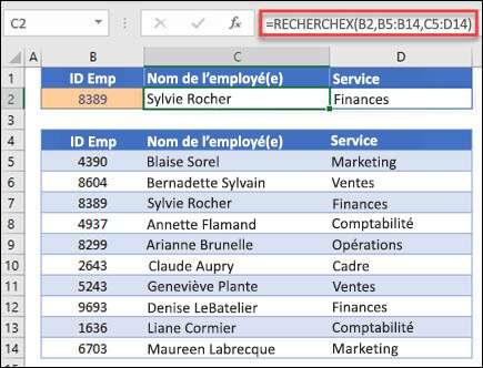 Exemple de la fonction XLOOKUP utilisée pour renvoyer le nom et le service d'un employé en fonction du IDt de l'employé. La formule est: = XLOOKUP (B2; B5: B14; C5: D14; 0; 1)