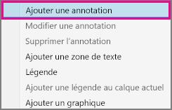 Commande Ajouter une annotation dans le menu contextuel