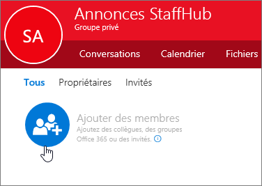 Ajoutez des membres au groupe StaffHub d'Outlook.