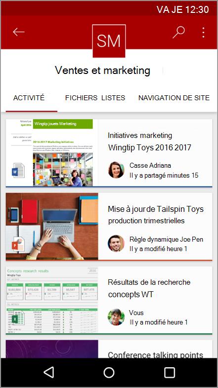 Capture d'écran de l'application mobile Android présentant navigation, fichier, listes et l'activité d'un site