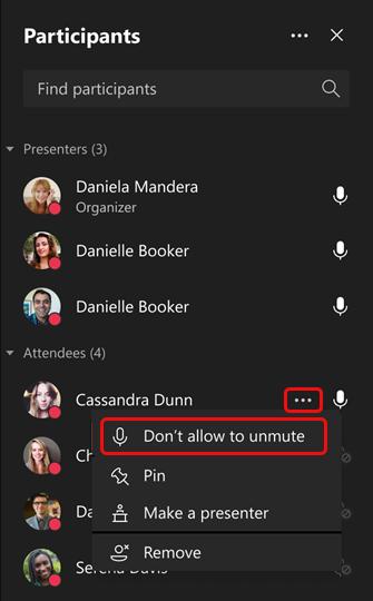 Ne pas autoriser un participant à réactiver le son
