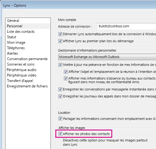 Capture d'écran des options Lync avec Personnel sélectionné et Afficher les photos des contacts