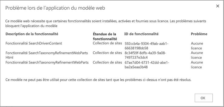 Capture d'écran d'un message d'erreur indiquant une erreur possible si des fonctionnalités non disponibles empêchent la création de site dans SharePoint Online