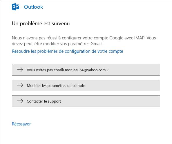 Un problème a été rencontré lors de l'ajout d'un compte de courrier dans Outlook.
