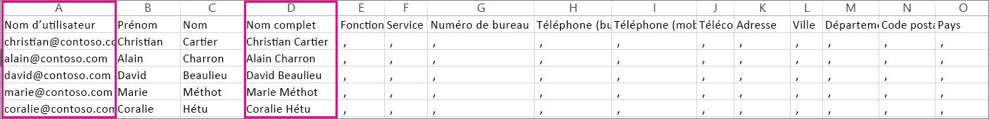 Exemple de fichier CSV comportant des lignes vides