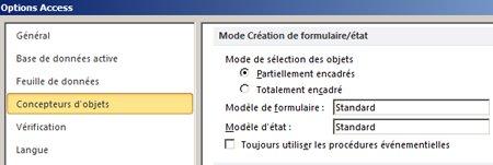 Affiche les options de paramètres du concepteur d'états et de formulaires