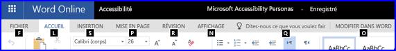 En mode Modification dans Word Online, ruban affichant les touches d'accès rapide
