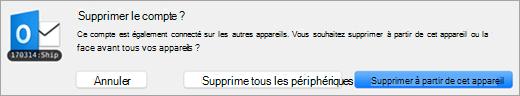Capture d'écran de la boîte de dialogue Supprimer le compte