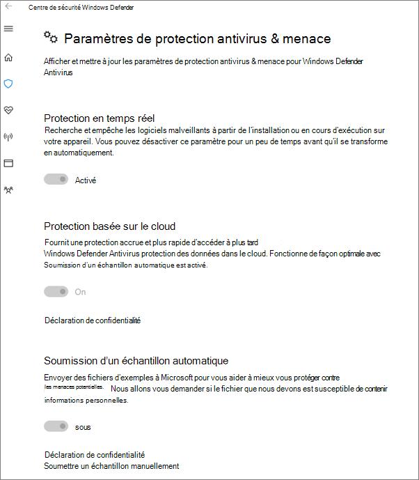 Les paramètres de protection contre les Virus et menaces sont estompées.