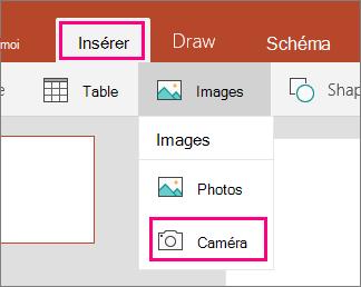 Affiche l'option caméra insérer une image dans Office Mobile pour Windows 10