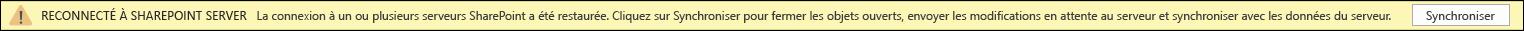 Cliquez sur Synchroniser pour vous reconnecter au serveur SharePoint.