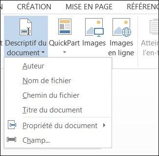 Menu Informations sur le document pour les en-têtes et pieds de page