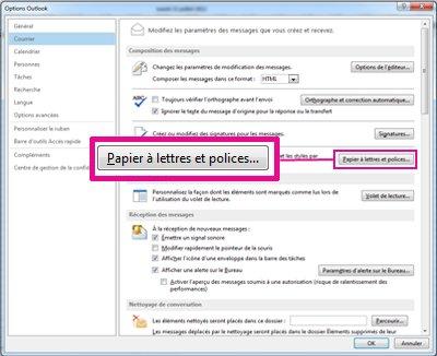 Commande Papier à lettres et polices dans la boîte de dialogue Options  Outlook 8c9e3dc98b2