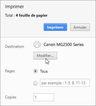 Cliquez sur Modifier pour choisir une imprimante