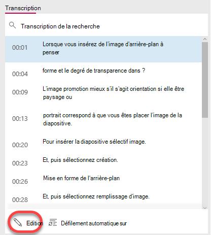 Sélectionnez le bouton Modifier en bas de la fenêtre de transcription