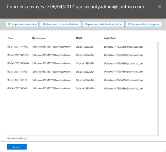 Capture d'écran de la liste de messagerie de la réparation incidents