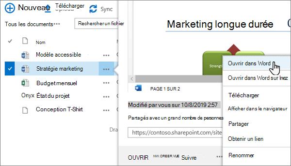 Option ouvrir > menu ouvrir dans l'application sélectionnée pour un fichier Word dans le mode d'affichage classique du portail OneDrive en ligne