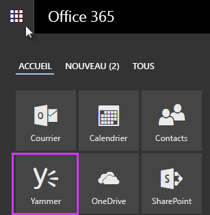 Capture d'écran du Lanceur d'applications Office365 avec Yammer affiché