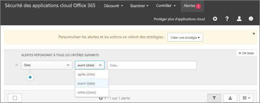 Utiliser le filtre de Date pour afficher les informations avant, après ou qui séparent.