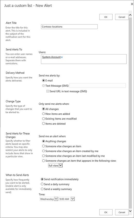 Liste des paramètres de l'option d'alerte