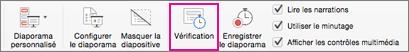 Essayer différents minutages entre des diapositives avec le bouton Vérification