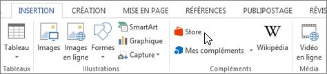 Capture d'écran d'une section de l'onglet Insertion dans le ruban de Word avec un curseur en pointant sur le magasin. Sélectionnez Store pour accéder à Office Store et rechercher des compléments pour Word.