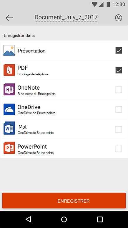 Capture d'écran de l'exportation d'une capture d'écran dans Office Lens pour Android.