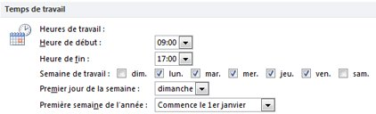 Section Temps de travail dans la boîte de dialogue Options Outlook