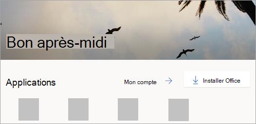 Capture d'écran de la page d'accueil d'Office.com après connexion