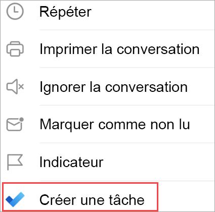 Affiche les options de l'e-mail