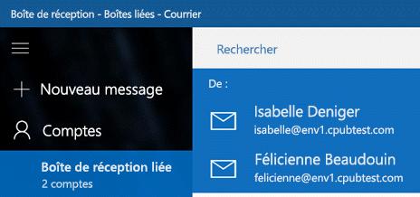 Choisir votre compte pour envoyer un nouveau message