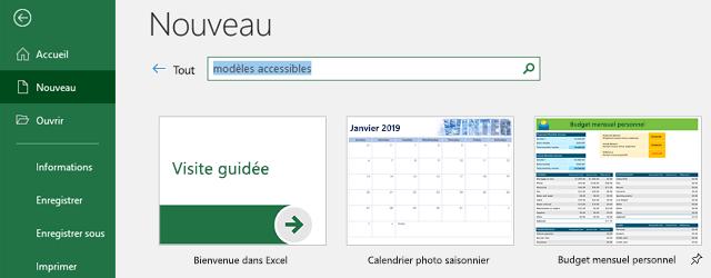 Onglet nouveau du menu fichier, avec le champ Rechercher des modèles en ligne en cours d'utilisation