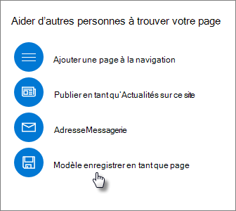 Panneau promouvoir montrant le modèle de page enregistrer sous
