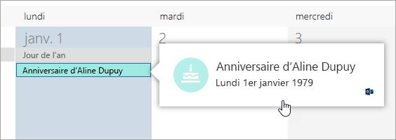 Capture d'écran de la zone événement d'anniversaire